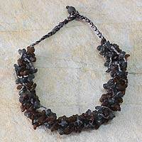 Recycled bead necklace, 'Midnight Fog' - Recycled bead necklace