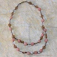 Recycled bead necklace, 'Peachy Pretty'