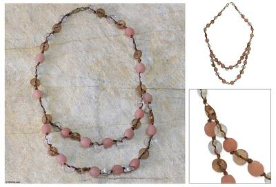 Recycled bead necklace, 'Peachy Pretty' - Recycled bead necklace