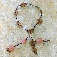 Recycled bead bracelet, 'Peachy Pretty' - Recycled bead bracelet