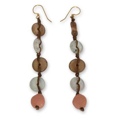 Recycled bead dangle earrings, 'Peachy Pretty' - Fair Trade African Recycled Glass Earring