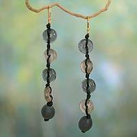 Recycled bead dangle earrings, 'Pretty Taupe'