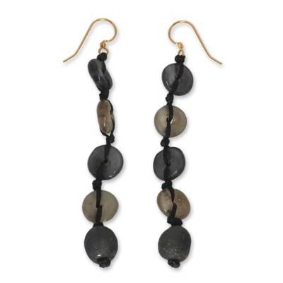 Recycled bead dangle earrings, 'Pretty Taupe' - Handcrafted Modern Recycled Glass Dangle Earrings