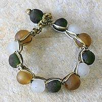 Recycled bead bracelet, 'Summer Fields'