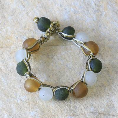 Recycled bead bracelet, 'Summer Fields' - Recycled Glass Beaded Bracelet