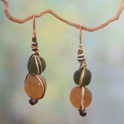 Recycled bead dangle earrings, 'Summer Fields' - Modern Recycled Glass Dangle Earrings
