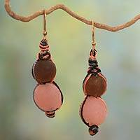 Recycled bead dangle earrings, 'Peach Allure' - Recycled Glass Handcrafted Bead Earrings