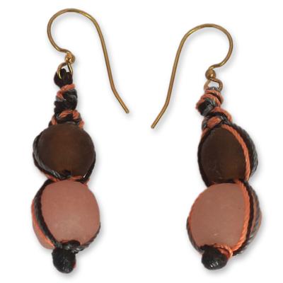 Recycled bead dangle earrings, 'Peach Allure' - Modern Recycled Glass Bead Earrings