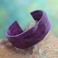 Leather cuff bracelet, 'Dasba in Mauve' - Leather cuff bracelet
