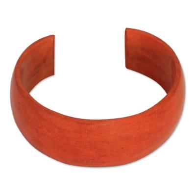 Leather cuff bracelet, 'Annula in Orange' - Leather cuff bracelet
