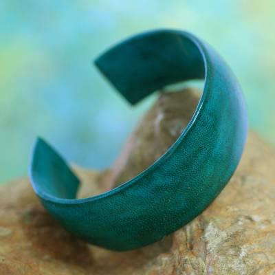 Leather cuff bracelet, 'Annula in Sea Green' - Fair Trade Leather Cuff Bracelet