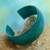 Leather cuff bracelet, 'Annula in Sea Green' - Fair Trade Leather Cuff Bracelet (image 2) thumbail