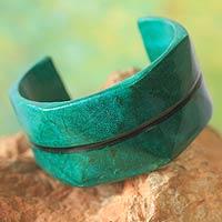 Leather cuff bracelet, 'Wend Konta in Mint' - Handcrafted Leather Cuff Bracelet