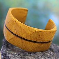 Leather cuff bracelet, 'Wend Konta Sun' - Leather cuff bracelet