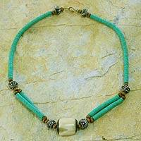 Bone beaded necklace, 'Green Laafi' - Bone and Recycled Beaded Necklace