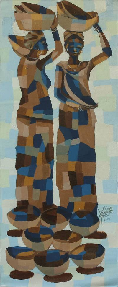 'Togetherness II' - Modern Acrylic Painting from Africa