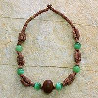 Bauxite and horn beaded necklace, 'Adom' - Bauxite and horn beaded necklace