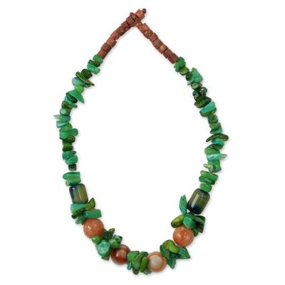 Agate beaded necklace, 'Obaahema' - Agate beaded necklace