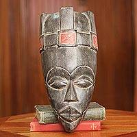 Wood African mask, 'Akan King'