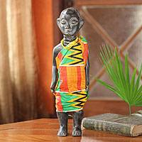 Wood sculpture, 'Ga Chief' - African Wood Sculpture with Cotton Kente