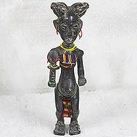 Wood fertility doll, 'Wednesday' - Handcrafted West African Wood Fertility Doll