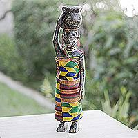 Wood sculpture, 'Homowo Festival II' - African Wood Sculpture with Cotton Kente