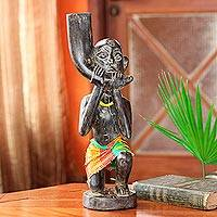Wood sculpture, 'Chieftain's Trumpeter' - Hand Made Wood Sculpture from Africa