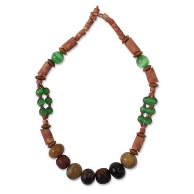 Cat's eye and bauxite beaded necklace, 'A Woman of Substance' - Cat's eye and bauxite beaded necklace