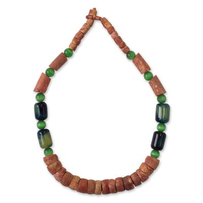Bauxite beaded necklace, 'Asomdwe' - Bauxite beaded necklace