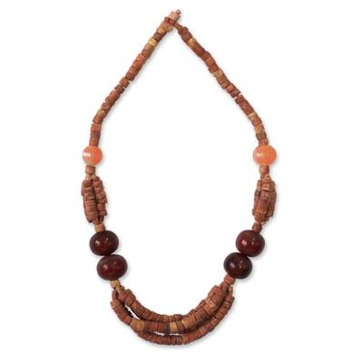 Bauxite and horn beaded necklace, 'Obinfo' - Bauxite and horn beaded necklace