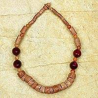 Bauxite and agate beaded necklace, 'Mbre' - African Beaded Necklace Hand Made with Bauxite and Agate