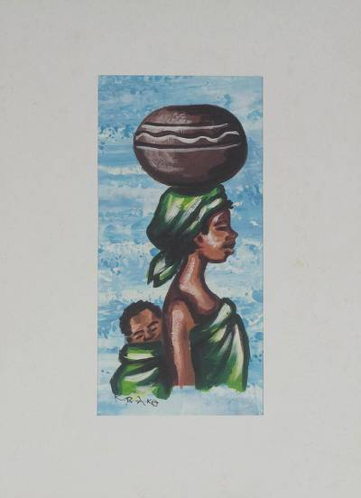 'Palm Wine Seller in Blue'