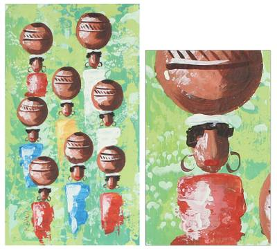 'Pot Carriers in Green'