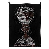 Batik wall hanging, 'Ifa Worshiper' - Batik wall hanging