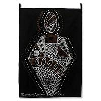 Batik wall hanging, 'Fetish Priest' - Batik wall hanging