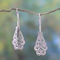 Sterling silver dangle earrings, 'Tree of God' - Sterling silver dangle earrings