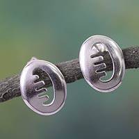 Sterling silver button earrings, 'Adinkra Friendship' - Sterling silver button earrings