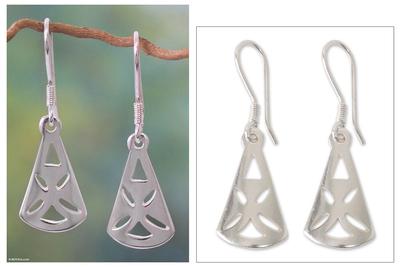 Sterling silver dangle earrings, 'God Is Good'