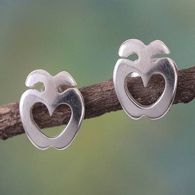 Sterling silver earrings, 'Love Answers All' - Sterling silver earrings