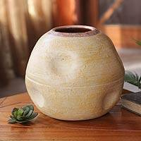Ceramic decorative vase, 'Akan Water Pot' - Ceramic decorative vase