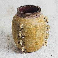 Ceramic vase, 'Village Pottery' - Handcrafted Traditional West African Ceramic Decorative Vase