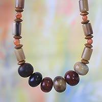 Agate and sese wood beaded necklace, 'Ornamental' - Agate and sese wood beaded necklace