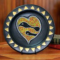Wood decorative plate, 'Peace and Love' - African Decorative Wood Plate and Stand