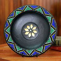 Wood decorative plate, 'The Great Sun' - Handcrafted Wooden Ornamental Plate
