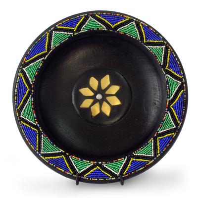 Wood decorative plate, 'The Great Sun' - Wood decorative plate