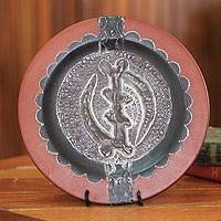 Wood decorative plate, 'Except God' - African Decorative Wood Plate and Stand