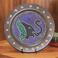 Wood decorative plate, 'Mighty Elephant' - Decorative African Beaded Wood Plate