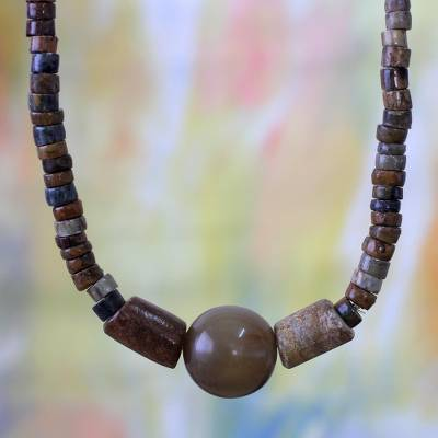 Soapstone pendant necklace, 'Ayeiyede' - Soapstone pendant necklace