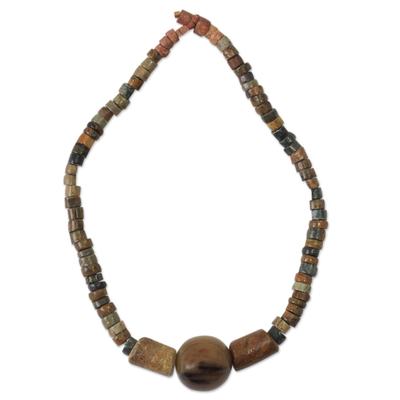 Soapstone pendant necklace, 'Ayeiyede' - Soapstone pendant necklace