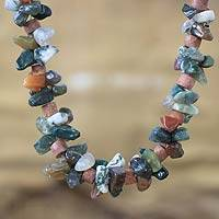 Agate beaded necklace, 'Wisdom Knot' - Agate beaded necklace